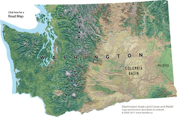 Shaded relief map of Washington State