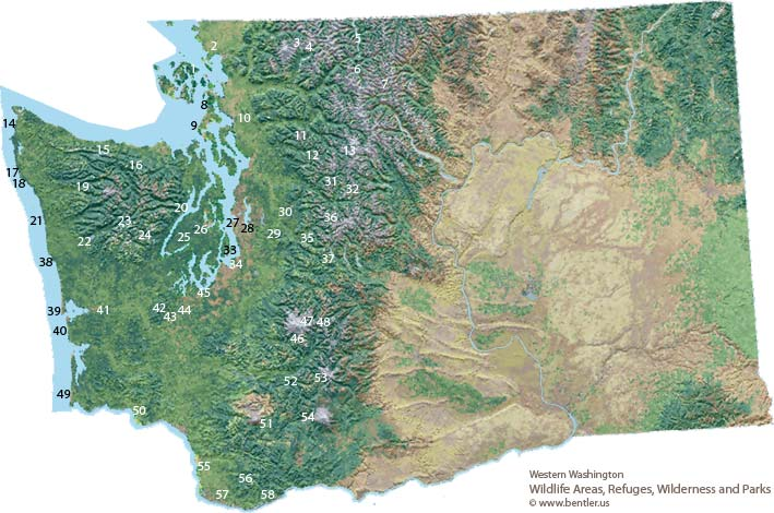 Western Washington wildlife refuges, parks and wilderness areas